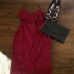 Windsor wine/burgundy midi cocktail dress